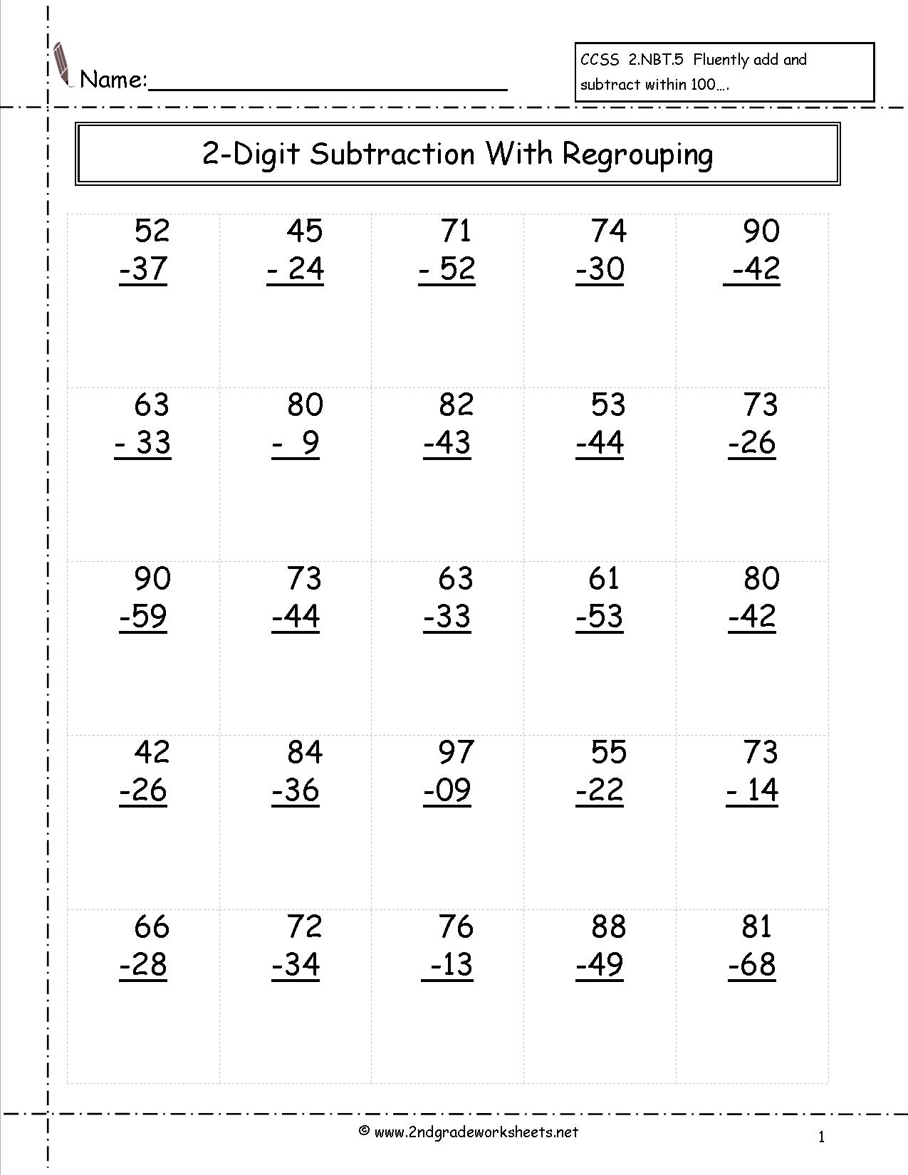 Free Printable Math Worksheets 2Nd Grade Subtraction ...